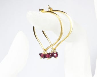 Garnet Gold Hoops, Lotus Earrings, Vermeil, Medium or Large