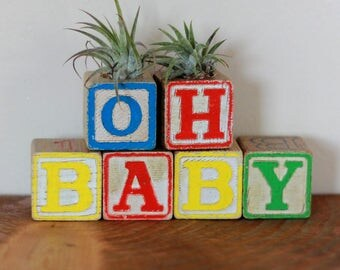 Oh Baby Vintage Wood Block Air Plant Holder Baby Shower Nursery Decor Baby Room Decoration