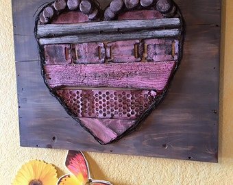 LOVE Valentines...Rustic Rusty Wood n Metal Heart Wall Hanging Large Heart Barn Style Farm House wedding decor
