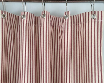 Marvelous Red Ticking Stripe Shower Curtain 72x72 Or Extra Long 72x84