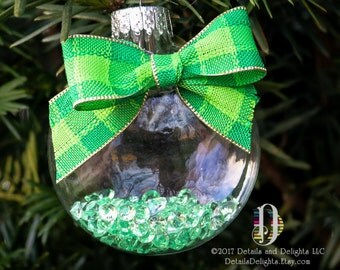 Green White Diamond Glass Disk Ornament, Satin Ribbon, Plaid Ribbon, Country Chic Woodland Hanging Christmas Holiday Tree Decor