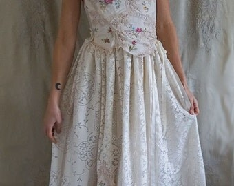 SALE Briar Patch Wedding Gown... bustier formal dress boho whimsical woodland hand embroider country vintage eco friendly
