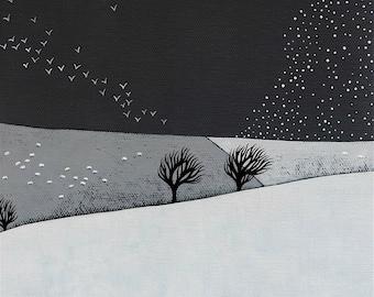 Snow Storm Coming - Archival 8x8 Print - Winter Landscape Painting - Minimalist Art, Birds - by Natasha Newton