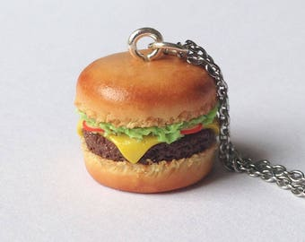 Handmade Burger Charm - Available on Necklace or Clasp - Polymer Clay Jewellery - Food charm