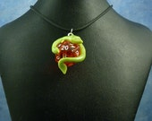Bright Green and Red Dicekeeper Dragon Necklace - D20 Pendant