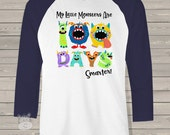 Teacher shirt - 100 Days Smarter monsters - fun hundred day raglan shirt for teachers T100DM
