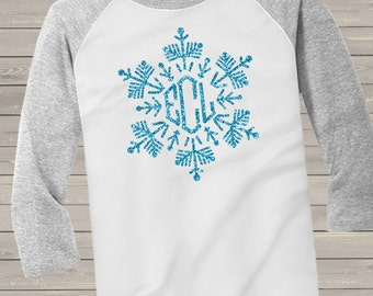 Holiday shirt monogram glitter snowflake personalized ADULT raglan Tshirt - adorable sparkly monogrammed raglan shirt  GSFR
