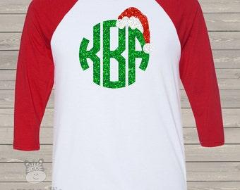 Holiday shirt monogram glitter Santa hat personalized ADULT raglan Tshirt - adorable sparkly monogrammed raglan shirt  MGSAR
