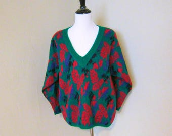 1980s Benetton Sweater, Sz. 42 Fuzzy Acrylic/Mohair Blend Dark Green Deep V Neck Sweater, Red, Purple, Black Floral Pattern, Made in Italy