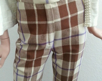 Vintage 70s Valentino Plaid Wool Trousers / White Cream High Waisted Pants / Italian Designer / Tweed Straight Leg / Women's Size XS S 26 27