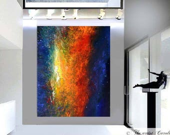 LARGE MODERN fine art original abstract oil painting contemporary art Cosmic Nights  by artist Carol Lee
