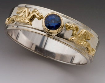 Gold Dragon Ring - Gold Eternity Dragon Band Ring with Sapphire - Wedding Ring Engagement Ring - Two Tone Ring