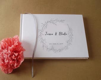 Custom Wedding Guest Book · Guest Book Wedding· Personalized Bridal Guestbook: Simple Elegance Vintage Glamour Classic Sophisticated Natural