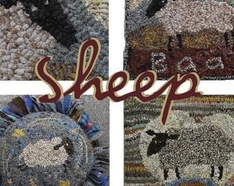 Sheep PDF instant download pattern set for rug hooking