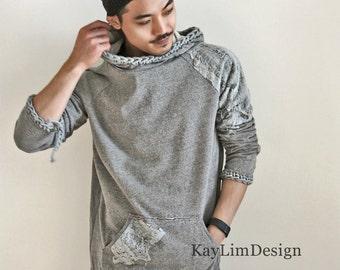 Men's destroyed t-shirt / men' sweatshirt / tattered t-shirt / mens hoodie / destroyed hooded tshirt KMT084