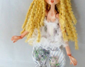 RAGAMUFFIN PIXIE, hand sculpted jointed puppet doll