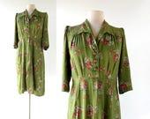 1940s Floral Dress   Spring Posy   40s Dress   M L