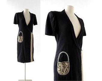 Vintage 1940s Dress | A-Tisket A-Tasket | Beaded Dress | 40s Dress | Medium M