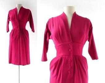 1950s Raspberry Wool Joseph Magnin Dress XXS XS
