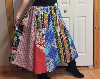 Plus Size Patchwork Maxi Skirt with Pocket/Colorful/Floral/Cotton Panel Skirt/Hippie/Festival/Retro/Midi/Skirts for Women Size XL to 2X
