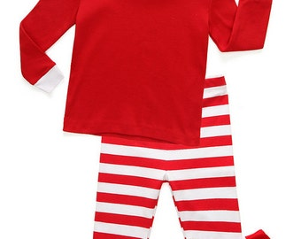 Holiday Red and White Striped Baby and Toddler Pajama Set