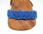 Gothic Tracery Micro Macrame Bracelet in Blue - Micro Macrame Bracelet - Bright Bracelet - Original Macrame Design - Bright Blue Bracelet