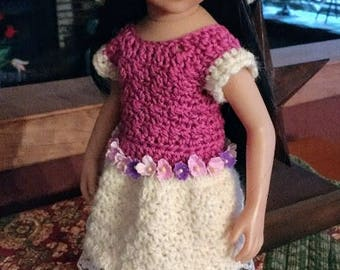 OOAK Crocheted Dress and Hat for Maru Mini Pals and Little Darling Dolls
