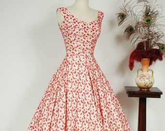 Vintage 1950s Dress - Brilliant White Cotton with Red Embroidery 50s Party Dress with Beaded and Studded Neckline - Tangled Cherry