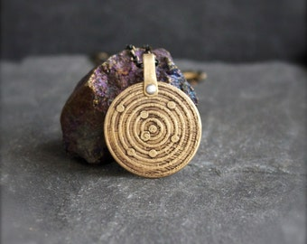 Heliocentric Model Necklace - Etched Gold Brass, Round Pendant, Rustic Texture, Solar System, Oxidized Patina, Unisex Boho Jewellery