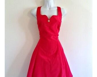 Vintage 80s Gunne Sax Hot Pink Party Dress - Size XS