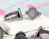 NEW Small Oval Silver Ring Blank setting for 10x14 mm Cabochon, adjustable band, Sterling Silver plating, bezel base in Vintage Boho style
