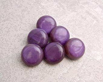 Glossy Purple Buttons, 18mm 3/4 inch - Chunky Rounded Deep Purple Plastic Buttons - 6 VTG NOS Quality Purple Buttons w/ Metal Shanks PL626