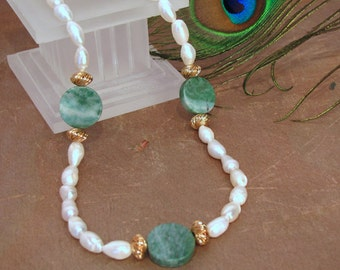 Baroque Pearl and Jade Necklace ~ Genuine Nan Yan Jade ~ Freshwater Cultured Pearls ~ 14Kt GF - 20 inches