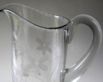 Juice Pitcher Antique Refrigerator Etched Wheel Cut Glass Floral Flower Applied Handle Flared Scalloped Rim  Rare Design