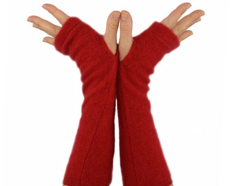 Cashmere Arm Warmers in Red - Recycled Fingerless Gloves