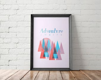 Mid Century Printable, Mid Century Art Prints, Mountains Print, Adventure Wall Art, Rustic Printable, Retro Poster, Travel Poster