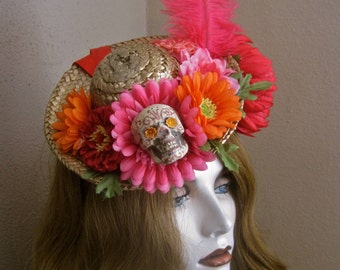 Bonito Sombrero: Day of the Dead Fascinator Headpiece Headband Miniature Straw Hat Flowers Skull Feather Mexican Senorita Red Pink Orange
