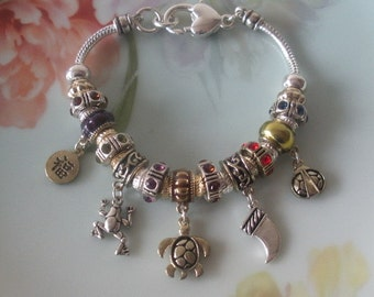 European Style-Pandora Style-CHARM Bracelet Silverplated Full of Charms Two Stopper Beads Frog-Turtle-Italian Horn-Ladybug