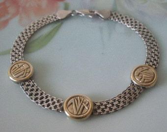 "Vintage Sterling Silver 925 Gold Vermeil Slinky Mesh Chain Abstract Design Stations Wonderful Estate Find 8"" Length"