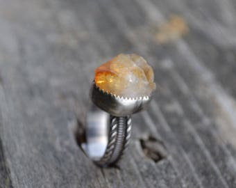 Citrine Raw Crystal Ring Hand Fabricated Sterling Silver