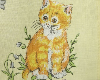 Vintage Tea Towel, Kittens Towel, Linen Tea Towel, Vintage Cats Towel, Retro Kitchen Towel, Linen Kitten Towel, Dish Towel, Made in the UK