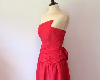 vintage red dress // 1980's formal prom // evening gown retro bow 80's