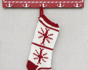 Traditional Christmas Stocking- Knitted Christmas Stocking- Red & White Stocking- Wool Stocking- Personalized Christmas Stocking-