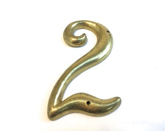 Vintage Brass House Number ~Number Two ~ Wall art vintage salvage ~ Mid Century 2
