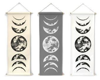 Moon Phase, Wall Hanging, Moon Tapestry, Moon Phases Wall Hanging, Boho Decor, Full Moon Wall Decor, Moon Wall Art, Moon Child, Lunar Phases