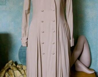 Vintage Coat Dress, Gabardine coat dress,  Elegant Dbl Breast Coat Dress,  Coat Dress, Midi Coat Dress, Steampunk Coat Dress, Coat Dress