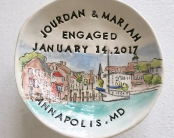 Custom engagement gift ring holder personalized from photo handmade pottery by Cathie Carlson