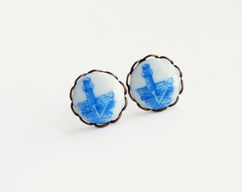 Nautical Anchor Studs Anchor Post Earrings Vintage Blue Delft Cameos Nautical Earrings Hypoallergenic Studs Nautical Jewelry Anchor Jewelry