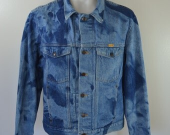 Vintage RUSTLER bleached DENIM jean jacket coat XL made in usa 1980's