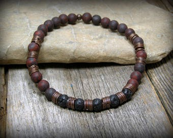 Mens Bracelet, Men Jewelry, Brecciated Jasper Bracelet, Rustic Bracelet, Native American, Jewelry for Men, Bracelet for Men, Black Beads